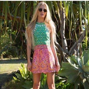 Arnhem Drifter halter mini dress in green & pink